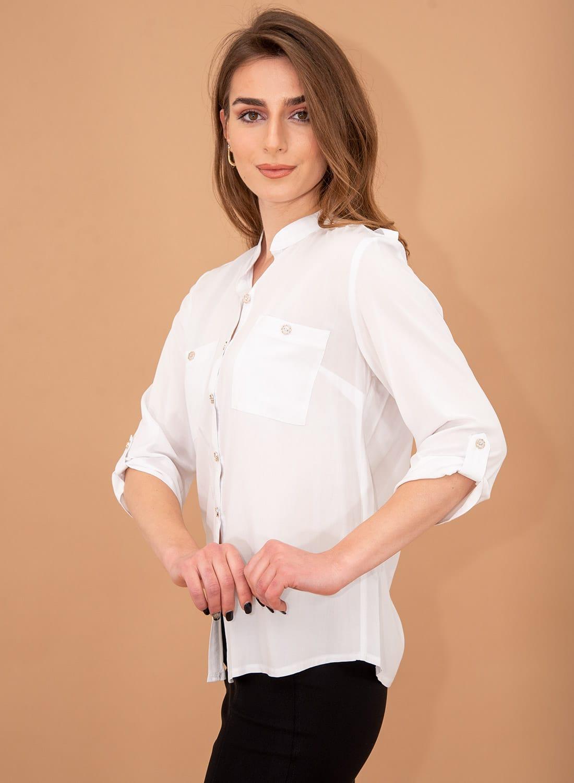 Λευκό πουκάμισο με τσεπάκια