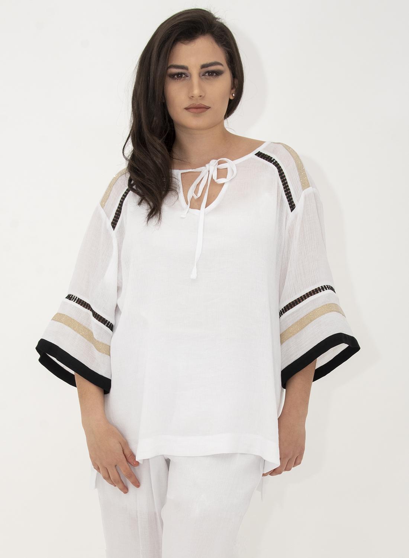 Λευκή εντυπωσιακή αέρινη πουκάμισα