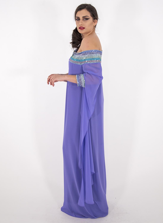 Λιλά αέρινο αμπιγιέ φόρεμα με παγιέτες