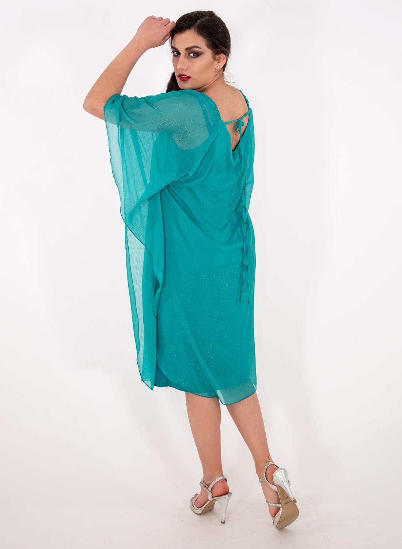 Μονόχρωμο αέρινο αμπιγιέ φόρεμα