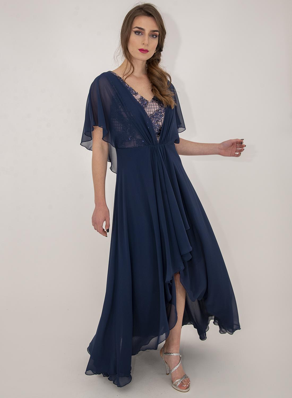 Αμπιγιέ αέρινο μπλε φόρεμα