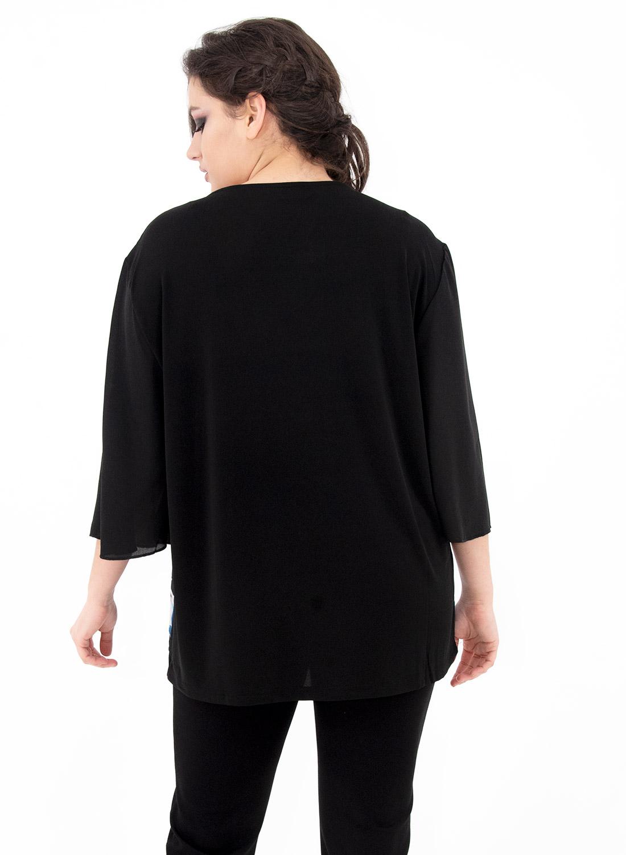 Μαύρη μπλούζα με φωτεινό εμπριμέ