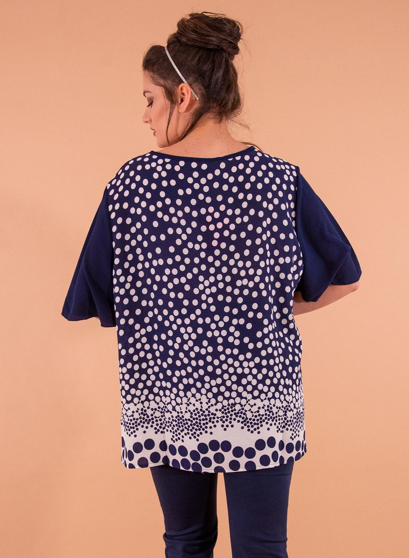 Μπλε κοντομάνικη πουά μπλούζα