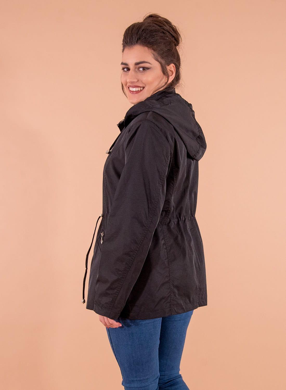 Μαύρο ανοιξιάτικο μπουφάν με κουκούλα