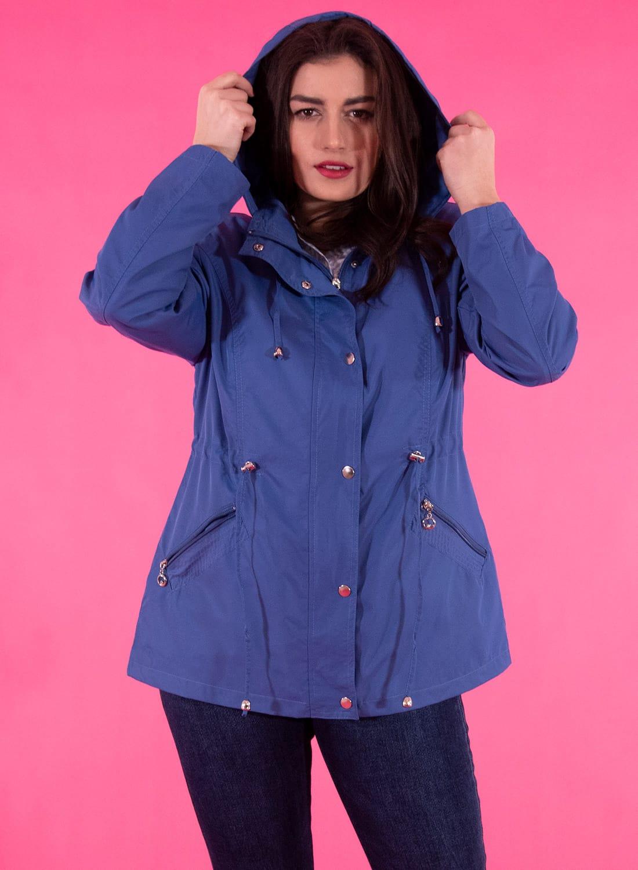 Μπλε ανοιξιάτικο μπουφάν με κουκούλα