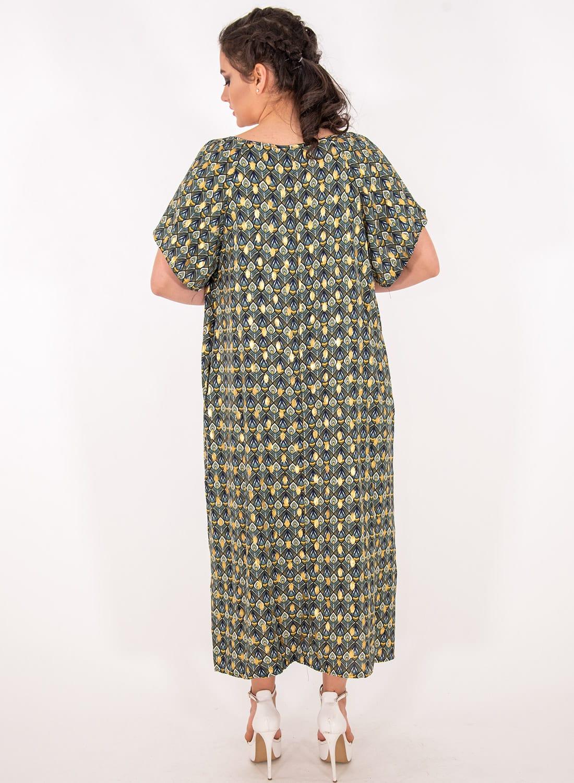 Λαδί εμπριμέ κοντομάνικο φόρεμα