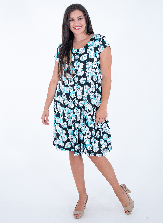 Μαύρο φόρεμα με φωτεινά λουλούδια