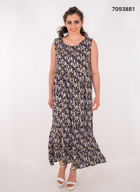 Μαύρο μακρύ φλοράλ φόρεμα