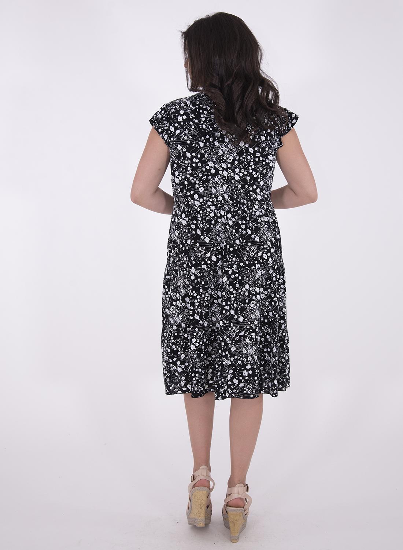 Βαμβακερό μαύρο φλοράλ φόρεμα