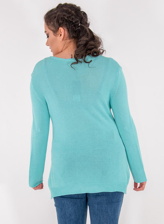 Μονόχρωμη πλεκτή μπλούζα