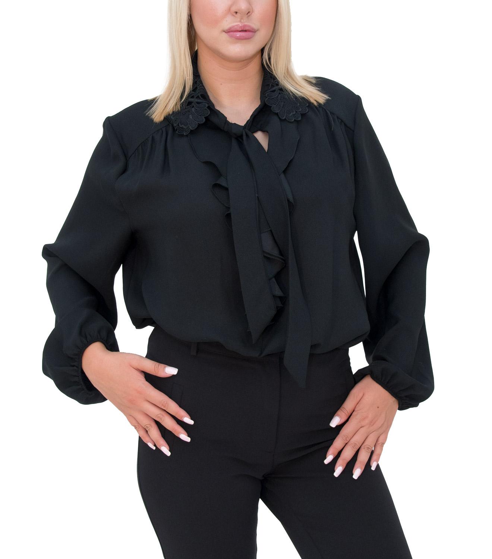 Αέρινο μαύρο πουκάμισο με βολάν
