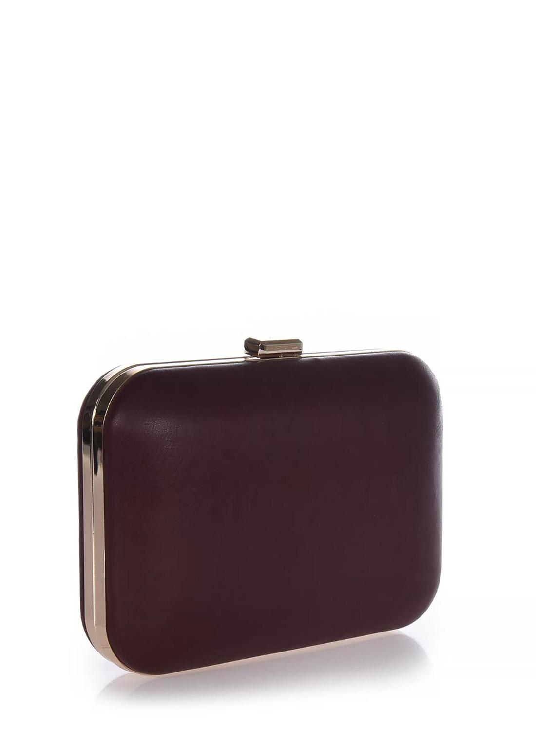 Clutch bag μπορντό με χρυσή ράγα