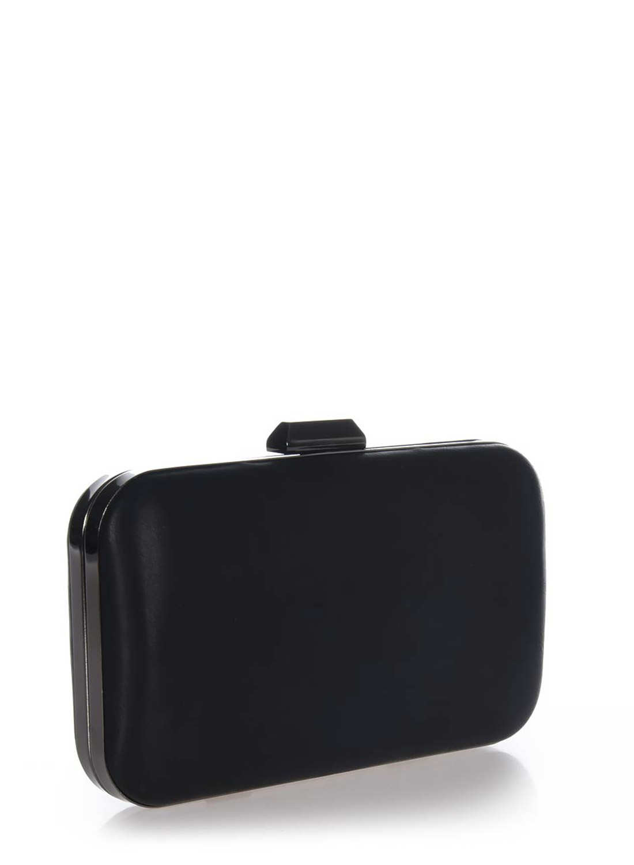 Clutch bag μαύρο με ανθρακί μεταλλική ράγα