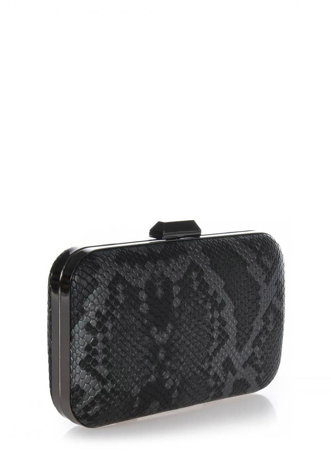 Clutch bag ανθρακί snake print με ανθρακί μεταλλική ράγα