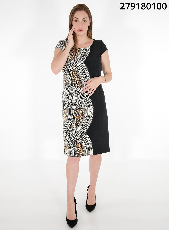 Midi μαύρο φόρεμα με εμπριμέ σχέδιο