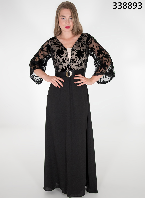 Maxi φόρεμα με βελούδινη δαντέλα στο μπούστο