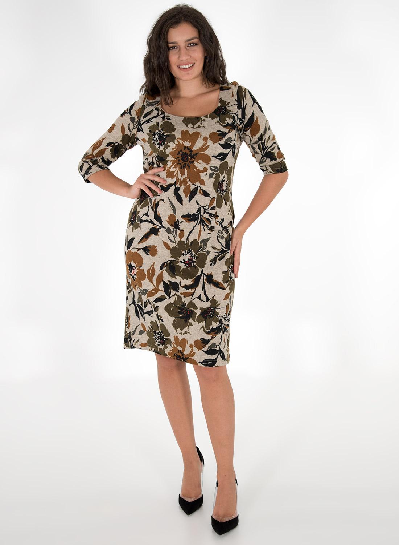 Midi φλοράλ φόρεμα σε γήινες αποχρώσεις