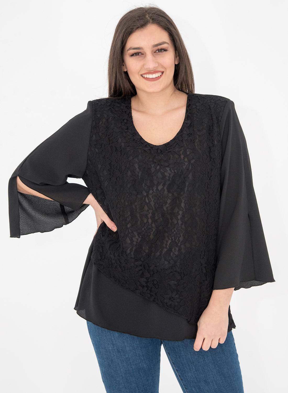 Μαύρη μπλούζα με δαντελένια λεπτομέρεια
