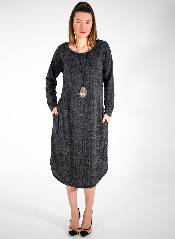 Ανθρακί φόρεμα με κολιέ