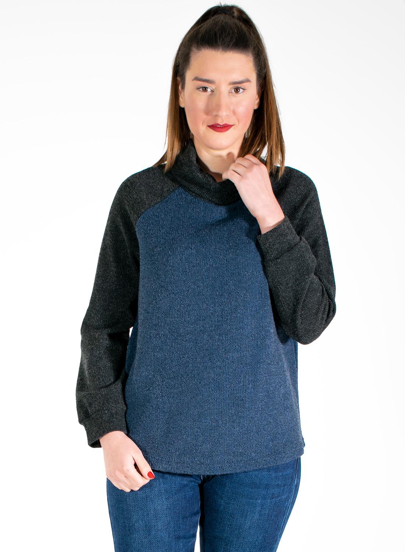 Δίχρωμη νεανική μπλούζα με χαλαρό ζιβάγκο