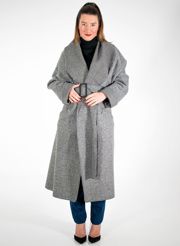 Γκρι νεανικό παλτό με ζώνη