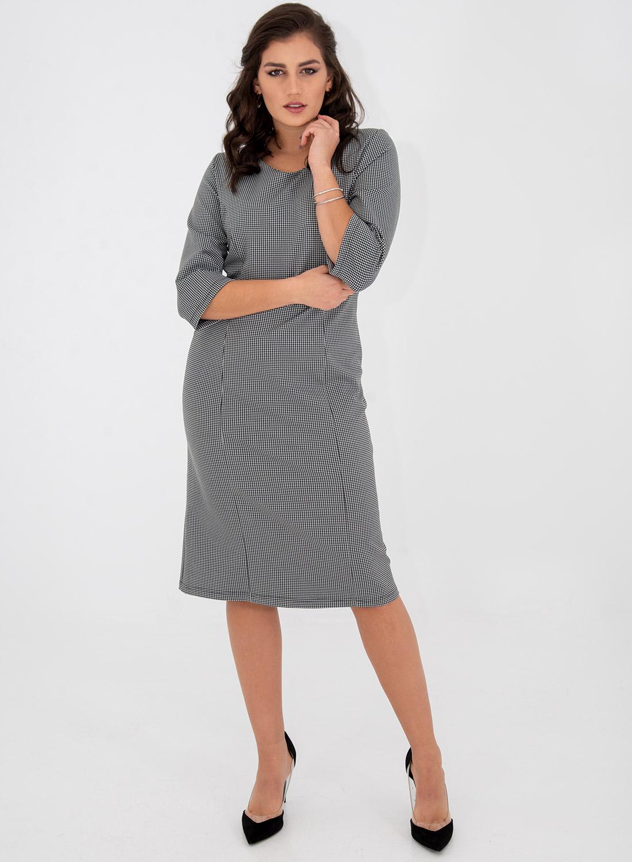 Ασπρόμαυρο καρό ίσιο φόρεμα