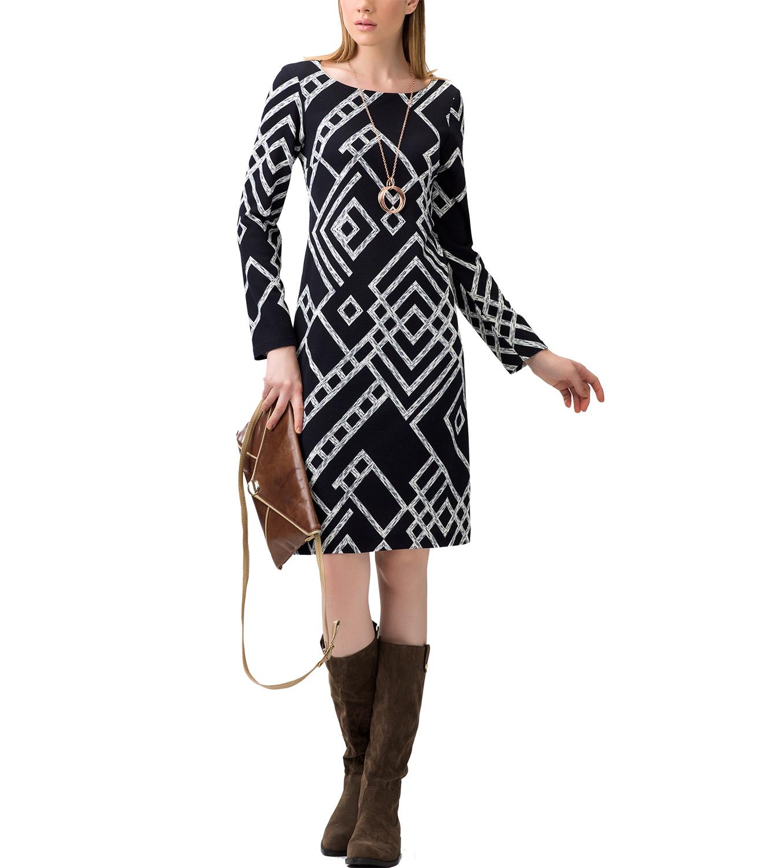 Midi Φόρεμα με γεωμετρικά σχέδια