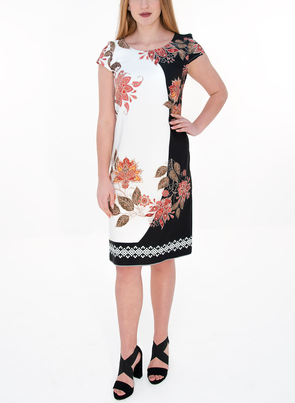 c2afe7a64b1d Ασπρόμαυρο φόρεμα με φλοράλ λεπτομέρειες