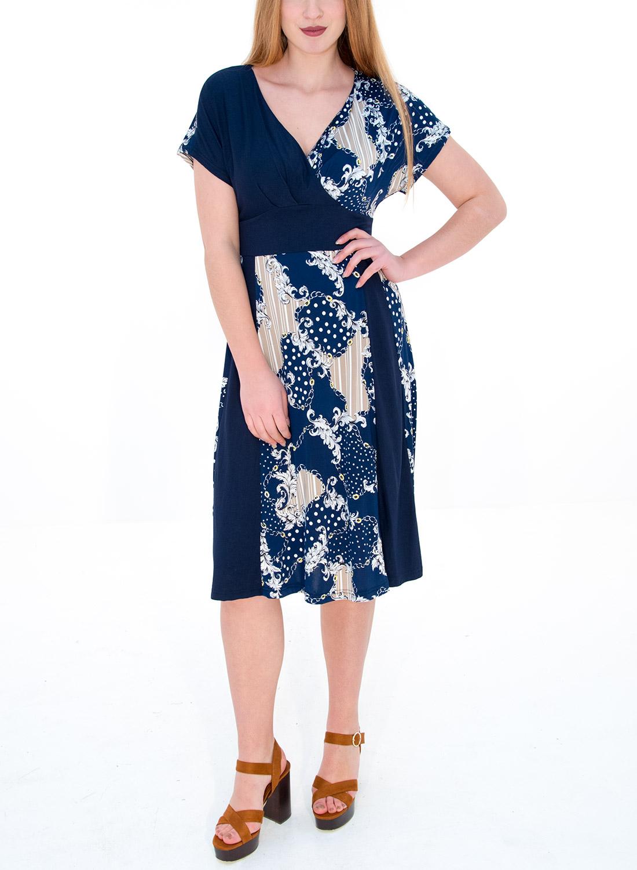 a87c75ee3752 Μπλε εμπριμέ φόρεμα