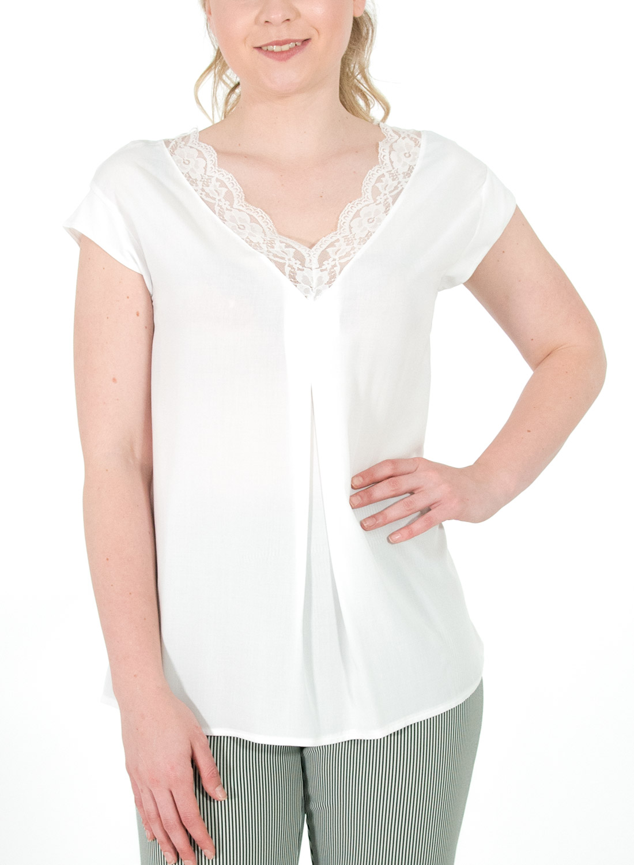 a659db8cda37 Λευκή μπλούζα με δαντέλα