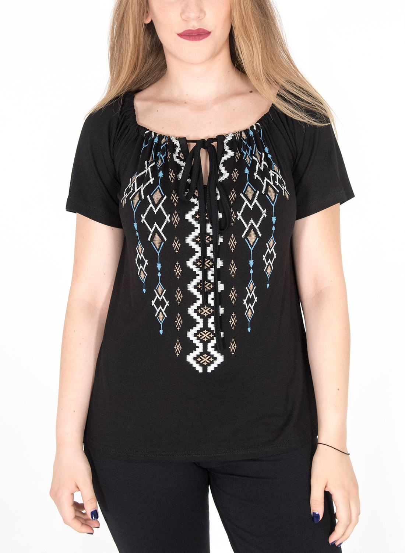 Μαύρη μπλούζα με στάμπα και δέσιμο