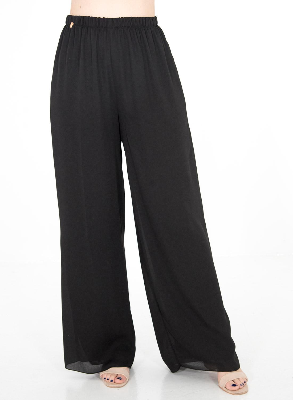 Αέρινη μαύρη αμπιγιέ παντελόνα