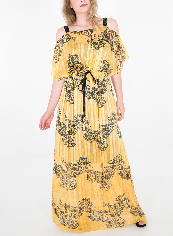 Φωτεινό εμπριμέ μαξι φόρεμα