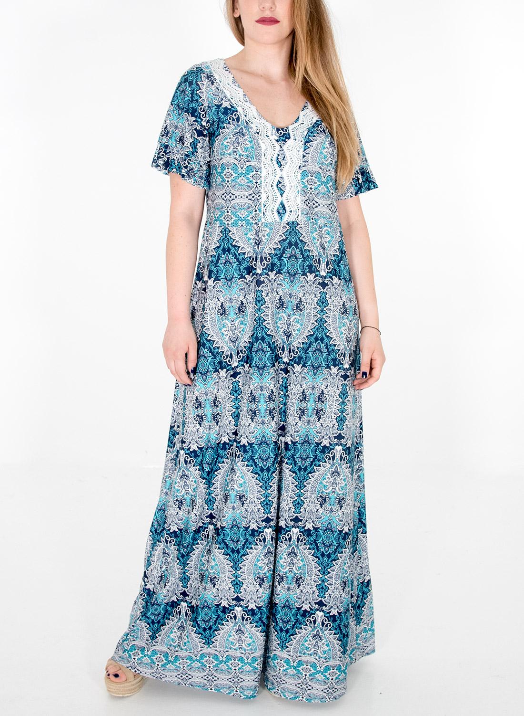 Maxi εντυπωσιακό εμπριμέ φόρεμα με τρέσα στο V