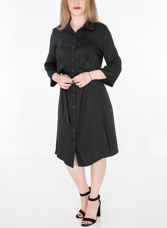Μαύρο midi φόρεμα με κουμπιά και ζώνη στη μέση