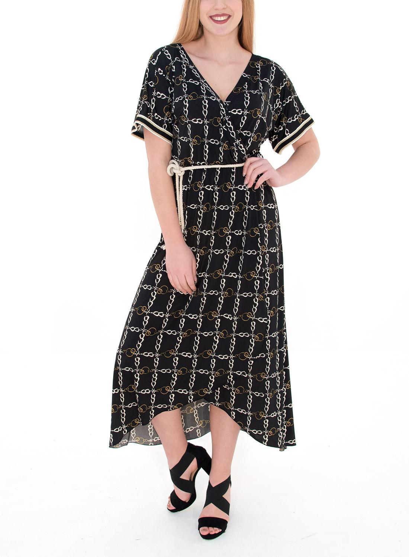 a91de0a45a93 Μαύρο φόρεμα με ζωνάκι και σχέδια