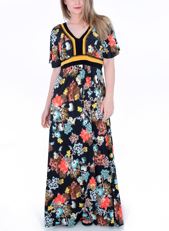 Φλοράλ καλοκαιρινό μάξι φόρεμα