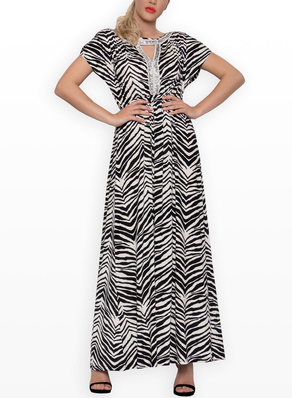 bf15286c0e66 Ασπρόμαυρο μάξι φόρεμα
