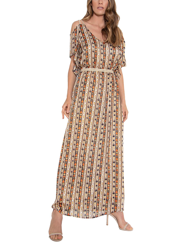 Maxi εντυπωσιακό φόρεμα με ζώνη