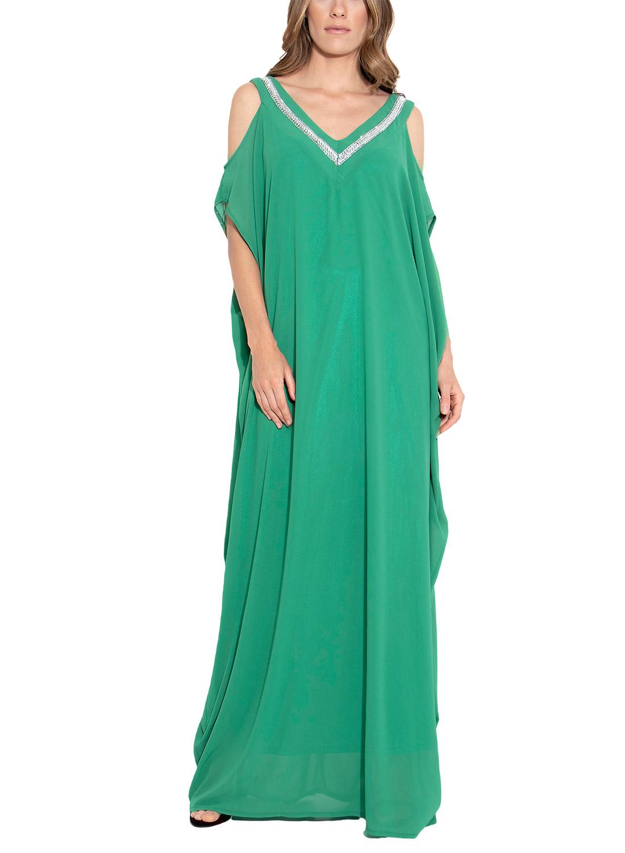 Μάξι αέρινο πράσινο φόρεμα