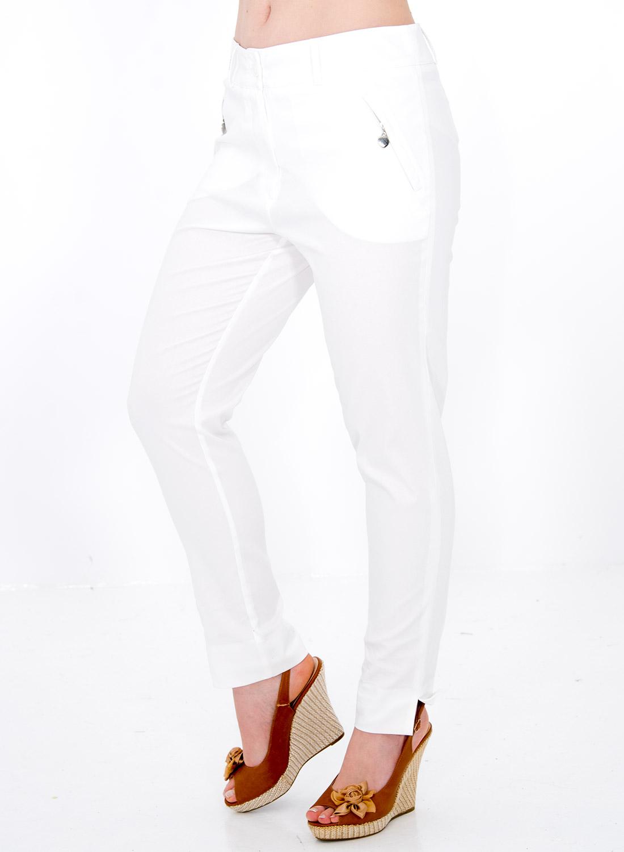 Λευκό βαμβακερό παντελόνι