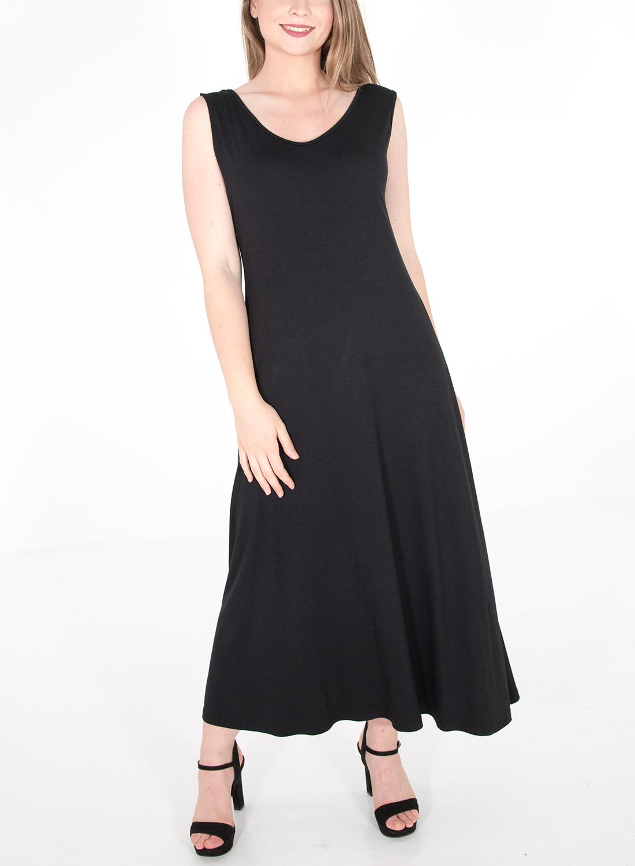 Αμάνικο ολόμαυρο φόρεμα
