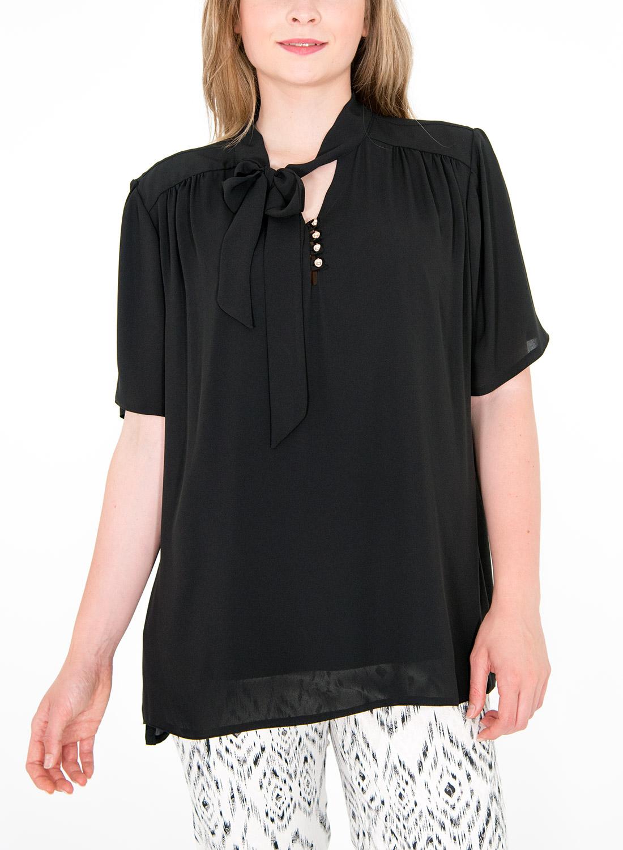 Αέρινη μαύρο μπλούζα με φιόγκο