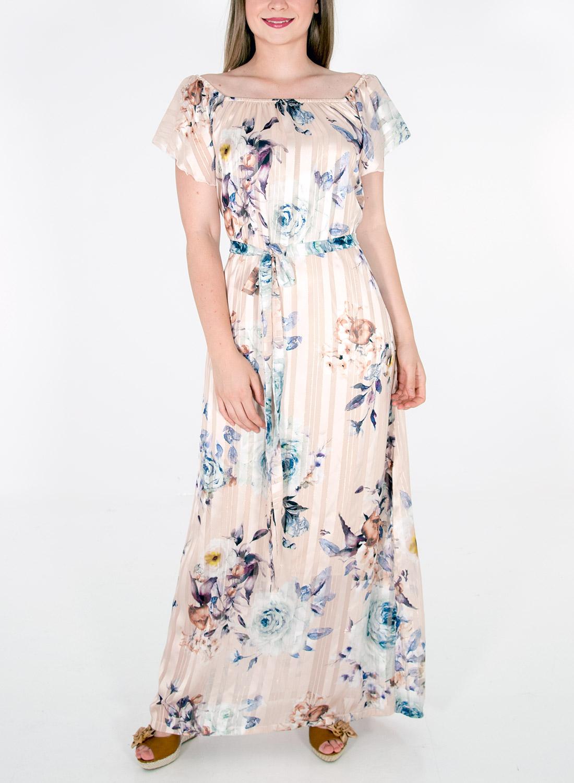 Μάξι φλοράλ φόρεμα με ζώνη