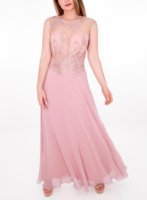 a36201df2537 Μάξι φόρεμα με δαντελένιο μπούστο