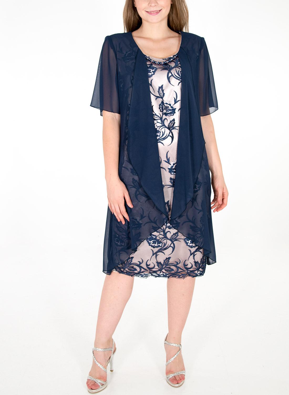 Δαντελένιο φόρεμα με αέρινο μπλε κιμονό