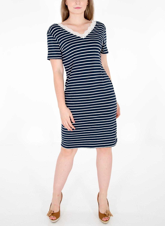 Ευκολοφόρετο ριγέ φόρεμα με δαντέλα
