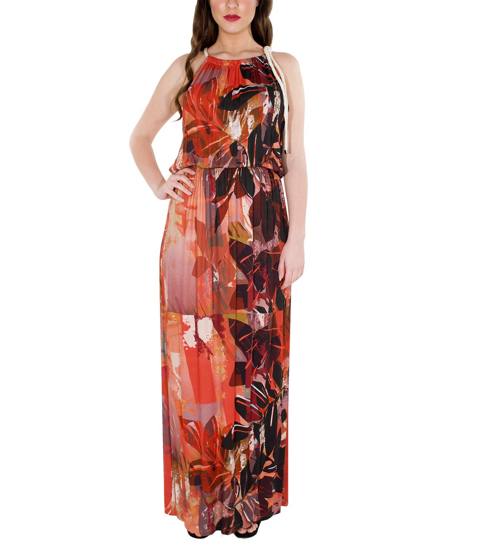 55457628b720 Εμπριμέ φόρεμα με πλαϊνά σχισίματα