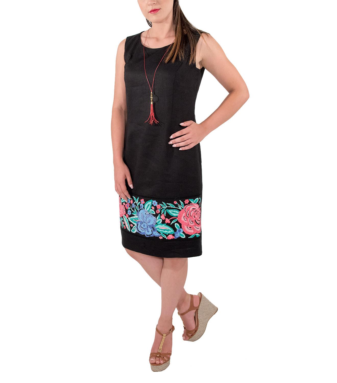 caef5bae1960 Σικάτο λινό φόρεμα με κολιέ