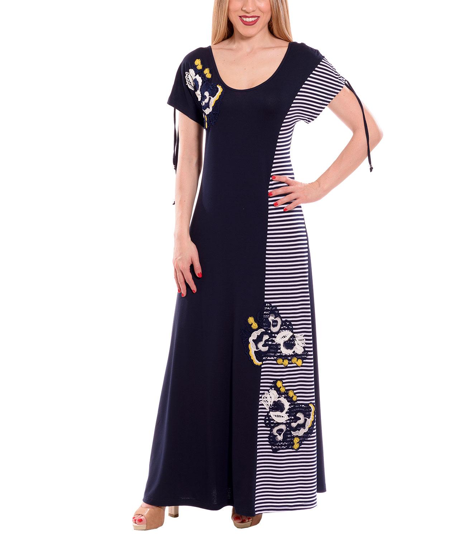 Μπλε ριγέ μάξι φόρεμα